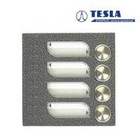 Tesla KARAT stříbrný 4 příd. tlačítka 1 ř., 2 BUS