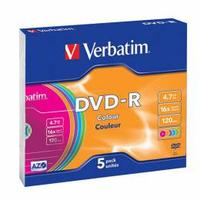 Verbatim DVD-R Colour 5 ks slim case