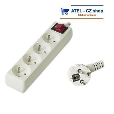 Prodlužovací přívod 230V 10m 4z.+vypínač - 1
