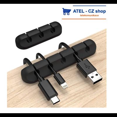 Držák kabelů 5p silikonový černý - 1