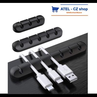 Držák kabelů 7p silikonový černý - 1