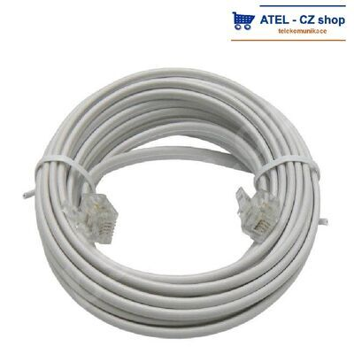 Telefonní kabel s konektory RJ11, 6/4, bílý, 50m - 1