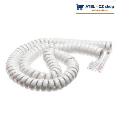 Mikrotelefonní šňůra kroucená 6m - bílá - 2